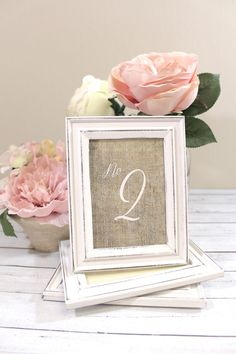 Freestanding Burlap Table Numbers with Rustic Shabby Chic Wedding Frames on Etsy, $8.50
