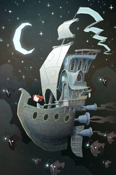 Fly By Night illustration. Red Head character and sea creatures.