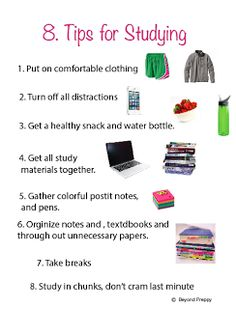 8 Tips For Studying   #studying #tips #homework (important to consider study surroundings, clothing, and other environmental factors)