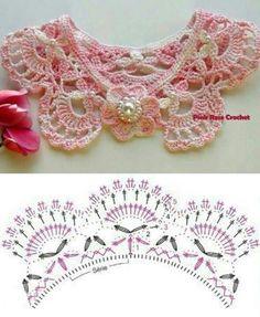 Crochet Shirt Crochet Lace Collar - So Romantic and Girly Crochet Collar Pattern, Col Crochet, Crochet Lace Collar, Crochet Motifs, Crochet Shirt, Crochet Diagram, Thread Crochet, Crochet Scarves, Crochet Clothes
