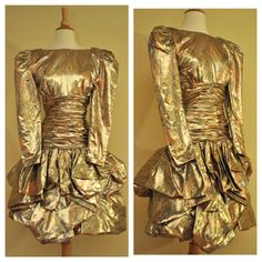 80s Prom Dress in Gold Metallic with Puff Sleeves Ruffled Skirt Above the Knee by Lawrence Size Small 1980s Vintage Party Dress on Etsy, $118.00