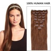 24 Inch 7pcs Deluxe Straight Clip In Human remy Hair Extensions 80g (#33 Rich Copper Red)