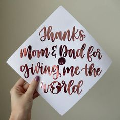 Thanks Mom & Dad for giving me the world graduation cap Custom Graduation Caps, Graduation Cap Designs, Graduation Cap Decoration, Graduation Diy, Nursing Graduation, Grad Cap, College Graduation Pictures, Graduation Quotes, Grad Pics