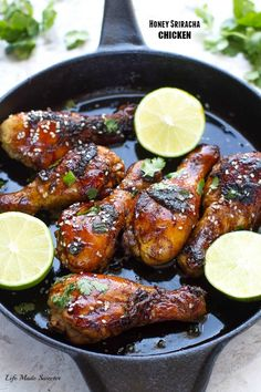 Sticky Honey Sriracha Chicken - Super easy chicken drumsticks loaded with the best zesty Asian flavors with the perfect balance of spicy, tangy & sweet. Chicken Drumstick Recipes, Easy Chicken Recipes, Asian Recipes, Quick Recipes, Free Recipes, Honey Sriracha Chicken, Ginger Chicken, Glazed Chicken, Chicken Life