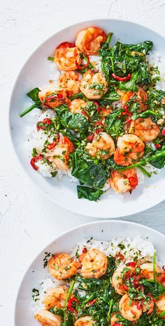 """Nothing says """"summer"""" like shrimp and citrus! Jasmine rice and a quick stir-fry of shrimp and spinach are topped with a Vietnamese-inspired chile-lime sauce for this perfect warm-weather dinner. Sign up for Martha & Marley Spoon to get seasonal recipes and fresh ingredients delivered straight to your door!"""