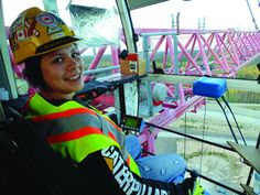 21-year-old Tanya Uiselt is training as a tower crane operator at the Operating Engineers Training Institute of Ontario.