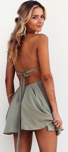 #summer #musthave #outfits |Bottle Green Backless Dress