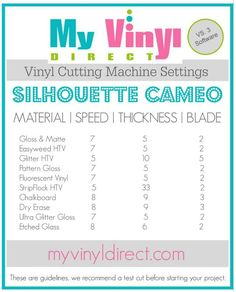 My Vinyl Direct Vinyl Cutting Machine Settings Silhouette Cameo and Portrait and Cricut Explore Silhouette Curio, Plotter Silhouette Cameo, Silhouette Cutter, Silhouette School, Silhouette Portrait, Silhouette Machine, Silhouette Design, Silhouette Files, Silhouette Cameo Shirt