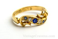 Antique Victorian 18K Gold Sapphire & Diamond Engagement Ring by VintageCravens