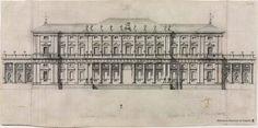 Proyecto no construido del alzado para el Palacio de Liria, dentro del barroco clasicista por Ventura Rodríguez proyecto realizado entre 1740-1745 (El bibliotecario anota solamente Palacio de Alba) Biblioteca Nacional de España