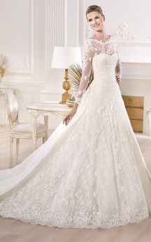 Wonderful Long-sleeve Lace Long Dress with Illusion Style