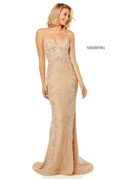 Style 52521 from Sherri Hill is a spaghetti strap fitted beaded prom gown with a bra back and a tie. Fitted Prom Dresses, Sequin Prom Dresses, Event Dresses, Grad Dresses, Beaded Prom Dress, Dance Dresses, Bridesmaid Dresses, Sparkly Dresses, Prom Girl Dresses