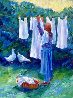 Hanging The Whites  Fine Art Giclee Print   by ARTbyTRUDI on Etsy, $25.00