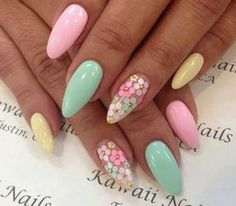 There are three kinds of fake nails which all come from the family of plastics. Acrylic nails are a liquid and powder mix. They are mixed in front of you and then they are brushed onto your nails and shaped. These nails are air dried. Pastel Nail Art, Cute Acrylic Nails, Fun Nails, Acrylic Spring Nails, Acrylic Nails For Summer Almond, Soft Nails, Pastel Hair, Spring Nail Art, Nail Designs Spring