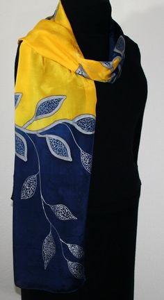 Silk Scarf Handpainted. Yellow Navy Blue Hand Painted Shawl.