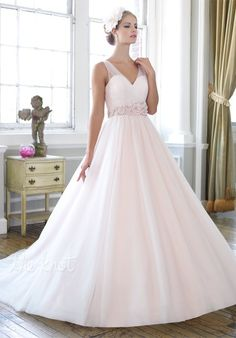 Moonlight Collection, J6265  -- A flowing ball gown with intricate micro-beaded and floral sash.  Soft tulle is pleated and draped over the sweetheart bodice.