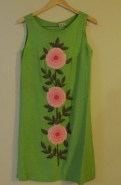 Lime Green Embroidered Sheath by Phil Rose by BitsandPiecesVintage, $40.00