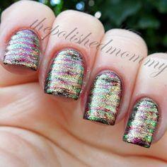Sparkly Striped Mani