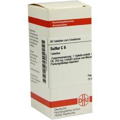 SULFUR C 6 Tabletten:   Packungsinhalt: 80 St Tabletten PZN: 04238980 Hersteller: DHU-Arzneimittel GmbH & Co. KG Preis: 5,95 EUR inkl. 19…