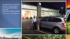 Dear Pat & Tom Corradino   A heartfelt thank you for the purchase of your new Subaru from all of us at Premier Subaru.   We're proud to have you as part of the Subaru Family.