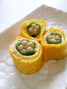 Okura and Cheese Egg Roll 七夕に☆おくらチーズの卵焼きロール