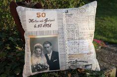 Ob nun Goldene oder Silberne Hochzeit, oder  Hochzeitstag  ... dieses Fotokissen ist wirklich ein sehr persönliches Geschenk.