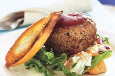 Serve these tasty pork and veal mince burgers with coleslaw and spicy tomato sauce for a complete mid-week meal.