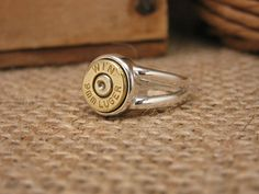 Bullet Casing Jewelry - Sterling Silver Split Shank Brass Winchester 9mm Luger Bullet Casing Ring on Etsy, $69.75
