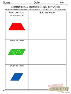 Here's a terrific post on teaching fractions with activity pages for use with fraction circles, pattern blocks, and Cuisenaire rods.