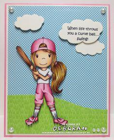 The Paper Nest: Softball Ellie by Deborah #thepapernest #copicsketch #cards