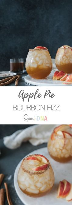 These Apple Pie Bourbon Fizzes are made with bourbon, homemade apple pie spiced simple syrup, apple cider, and a splash of soda water! They're the perfect amount of sweet and the most wonderful cocktail for fall! I love garnishing them with honeycrisp apple slices and cinnamon sticks! #applepie #bourbon #cocktail #fallrecipes via @spicesinmydna Bourbon Cocktails, Cocktail Recipes, Smoothie, Strawberry Wine, Apple Pie Spice, Honeycrisp Apples, Homemade Apple Pies, Non Alcoholic Drinks, Kitchen
