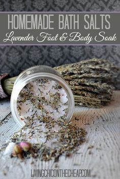 I have been kind of obsessed with Homemade Beauty products lately. This homemade bath salts recipe for Lavender Salt Foot & Body Soak . It is so easy to