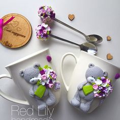 3D Teddy Bears w/ bouquet spoons