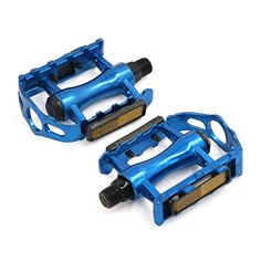 uxcell MTB Mountain Bicycle Bike Cycling Spindle Flat Pedals Pair Blue ** Check this awesome product by going to the link at the image. Bicycle Pedals, Bicycle Lights, Mountain Bicycle, Cool Bicycles, Bicycle Accessories, Cycling Gear, Blue Check, Mtb, Cali