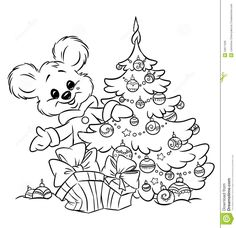 Christmas Ornament Coloring Pages | Christmas Teddy-bear Tree Ornaments Gift Colorin Royalty Free Stock ...