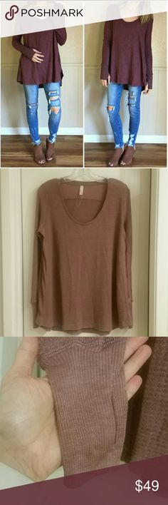 Wishlist Thermal Waffle Long Sleeve Shirt Boho S New and unworn. Wishlist Apparel Thermal Waffle long sleeve shirt in dusty blush rose pink size small. Boutique quality with cute thumb holes!!!! Very Free People in styling. 1st photo borrowed to show styling. True color in 2nd photo. Will consider reasonable & bundled offers, thank you! Wishlist Tops