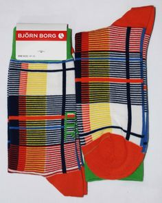 Navy Orange White Green Plaid Style Mens Dress Sock - Bjorn Borg www.boldsocks.com $12