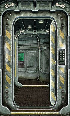 spaceship hatch, door, corridor, sci-fi,