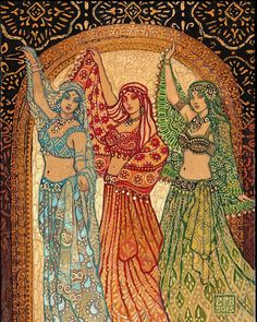 Sisterhood of the Silk Road ACEO ATC Fine Art Print Pagan Mythology Psychedelic Belly Dance Bohemian Gypsy Goddess Art Dance Oriental, Bd Art, Kunst Poster, Tribal Belly Dance, Goddess Art, Tribal Fusion, Silk Road, Belly Dancers, Psychedelic
