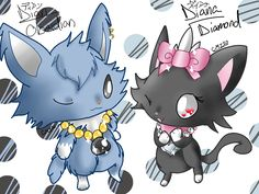 Jewelpet Obsidian and Diamond Dian and Diana by Chaomaster1.deviantart.com on @deviantART