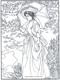 Morning Walk, by S. Sargent: This site makes you sit through a short ad before loading the coloring page.