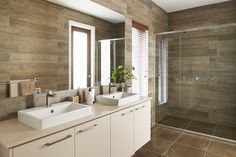 We're crazy about these floor to ceiling wood-look tiles! A serene, nature-inspired bathroom with Linen countertops by Boutique Homes. Wood Look Tile, Boutique Homes, Bathroom Interior, Bathroom Ideas, Bathroom Sinks, Beautiful Bathrooms, Kitchen Living, Home Kitchens, House Design