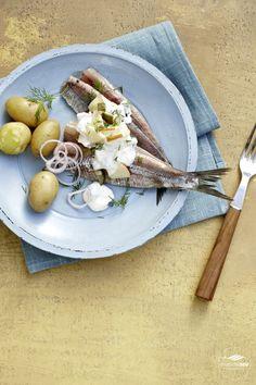 Matjes nach Hausfrauenart: Mit Schmand, Apfel und Zwiebelringen