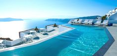 There are some awesome swimming pools in Santorini Island. Below are photos of some of the most amazing swimming pools in Santorini Island. Infinity Pools, Santorini Hotels, Santorini Island, Imerovigli Santorini, Santorini Italy, Santorini Travel, Amazing Swimming Pools, Cool Pools, Awesome Pools