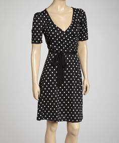 Take a look at this Black & White Polka Dot Surplice Dress on zulily today!