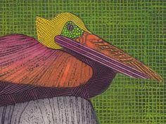 Resting Pelican 11 - Pelican Art Print, Nature Sea Bird, Collograph, Water Bird, green, wall decor on Etsy,