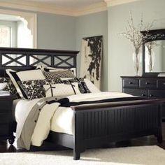 Dark furniture gray blue walls black and white patterned accents & 25 Dark Wood Bedroom Furniture Decorating Ideas | Pinterest | Black ...