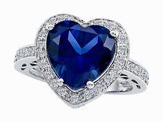 Original Star K(tm) Large 10mm Heart Shape Created Sapphire Engagement Wedding Ring