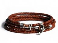 Kiel James Patrick Brown Braided Leather Wrap Bracelet with Anchor