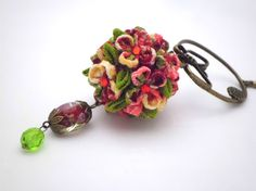 Tsumami Kanzashi Hair Stick/ Tropical Colored Flower Ball - Red Pink Yellow Green/ Japanese Hair Pin/ Oriental/ Wedding/ Prom/ Kimono/ Gift